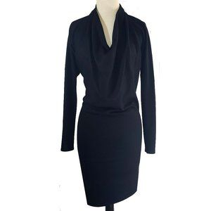 Helmut Lang wool cowl neck wiggle dress